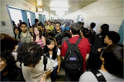 Crowded school hallway