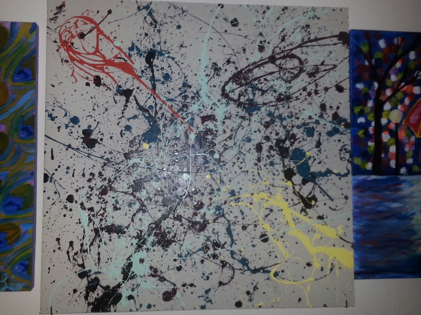 My attempt at Jackson Pollock style painting