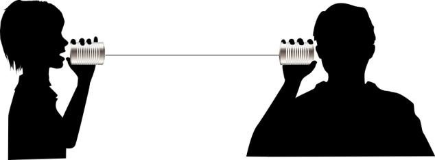 People Talk Listen On Tin Can Phone Communication