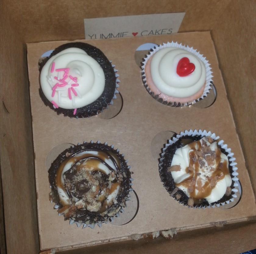 Clockwise from upper left: Chocolate Strawberry Champagne, Pink Champagne, Better Than Sex, and Turtle Cupcake from Yummie Cakes.