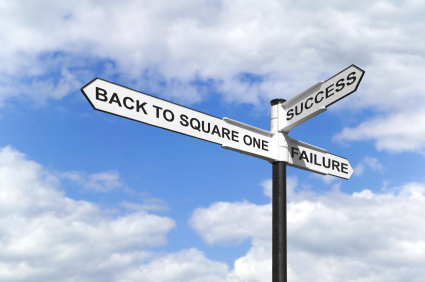 Concept image of a signpost with Back to Square One, Success and Failure against a blue cloudy sky.