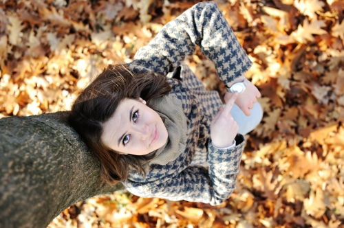 young girl in beautiful autumn park
