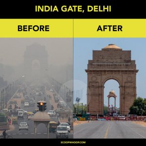 Two images of the India Gate, Delhi. The first is full of smog and traffic. The second has clear skies and almost no cars.